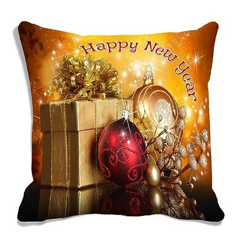 "meSleep Happy Year Digitally Printed 2 Piece Microfibre Cushion with Filler 12""x 12"", Multicolour"