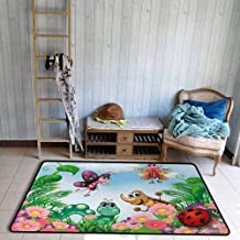 Outside The Door Rug Garden Gardening Theme Illustration of Butterfly Ladybug Worm Flowers and Grass Durable W67 xL79 Jade Green Fern Green