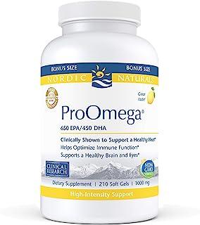 Nordic Naturals ProOmega, Lemon Flavor - 1280 mg Omega-3-210 Soft Gels - High-Potency Fish Oil with EPA & DHA - Promotes Brain, Eye, Heart, Immune Health - Non-GMO - 105 Servings