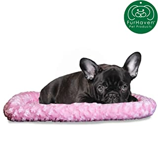 Furhaven Pet Dog Bed Kennel Pad | Soft & Snuggly Bolster Crate or Kennel Mat Pet Bed for Dogs & Cats - Available in Multiple Colors & Styles