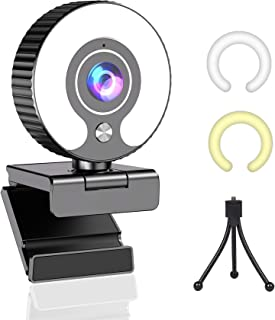 Streaming Webcam with Light Ring and Microphone FHD 1080P for Desktop Computer Web Camera for PC Mac Laptop Macbook Pro, G...