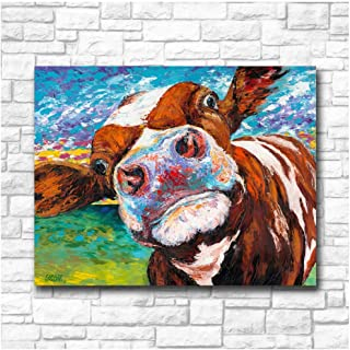 RUIQIN Graffiti Art Curious Cow Wall Art Canvas Painting for Living Room Home Decor Oil Painting Wall Art Picture-60x80cm No Frame