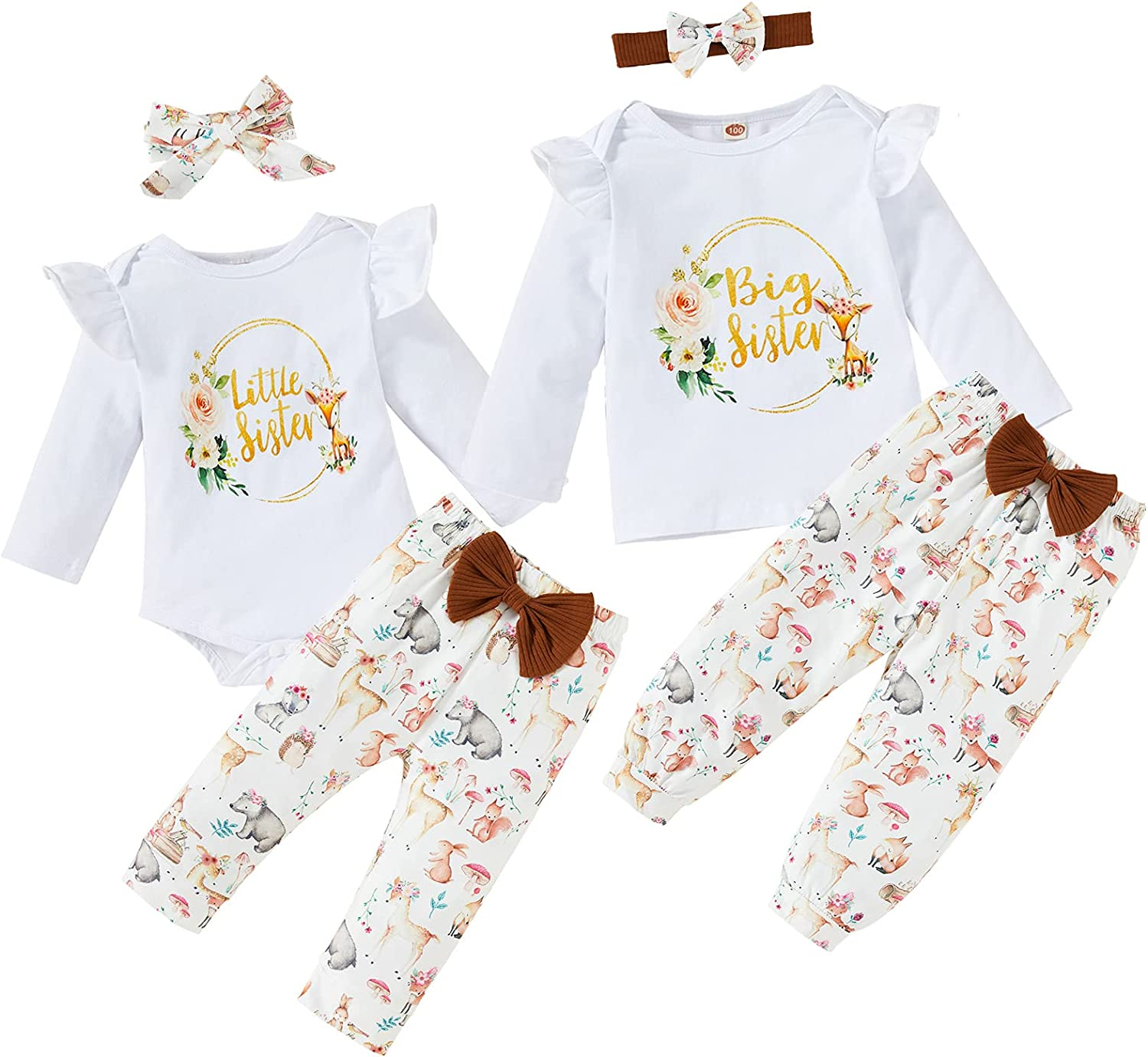 Baby Girl Sister Matching Outfits Little Big Sister Prited Floral Romper Top Animal Legging Pants with Headband 3Pcs Outfits