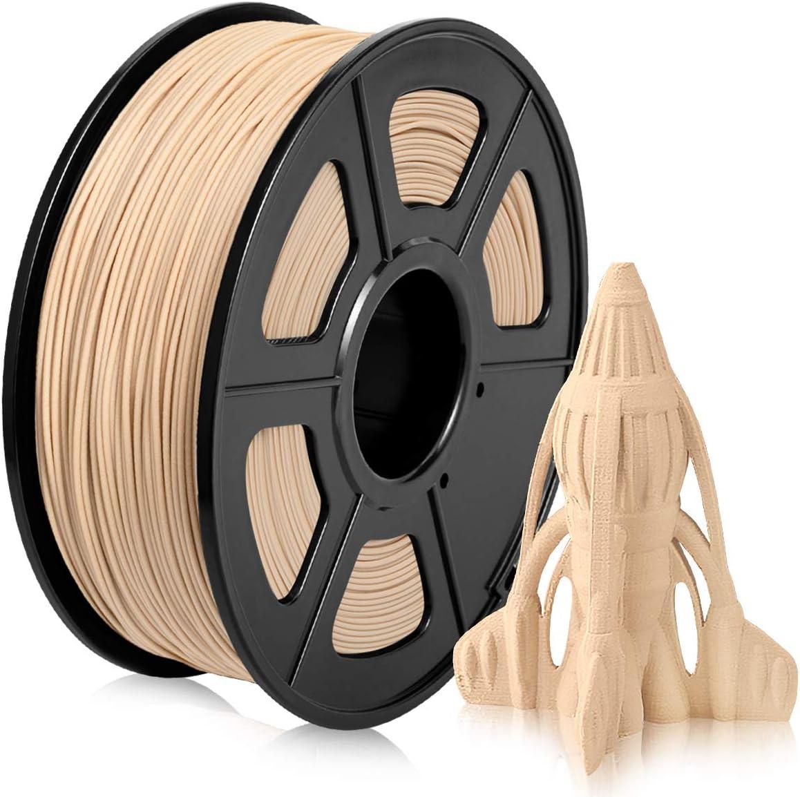 Wood PLA Filament 1.75mm, Low Printing Temp Wood Texture PLA 3D Filament, 20% Wood Fiber Filled PLA Wood Filament 1KG (2.2 lb) Wood Color