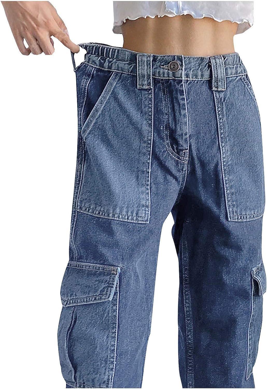ZAKIO Women's High Waist Flap Pocket Side Baggy Jeans Loose Fit Casual Straight Stretch Wide Leg Cargo Denim Pants