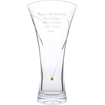 Personalised Engraved 20.5cm Conical Modern Cut Pattern Vase Birthday Gift