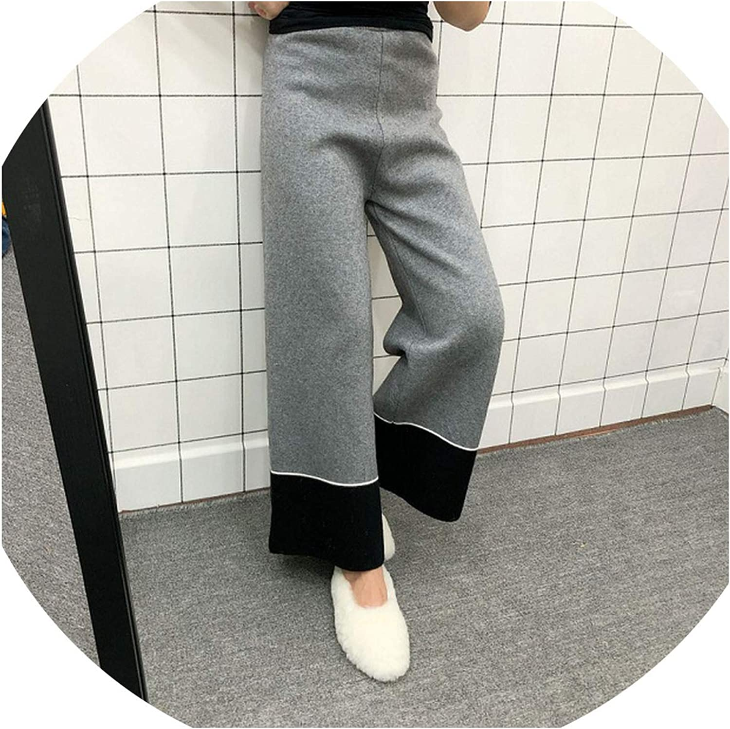 I'll NEVER BE HER 2018 Winter Thick Wide Leg Pants Women Full Length Fashion Elastic Patchwork Loose Casual Trousers Warm