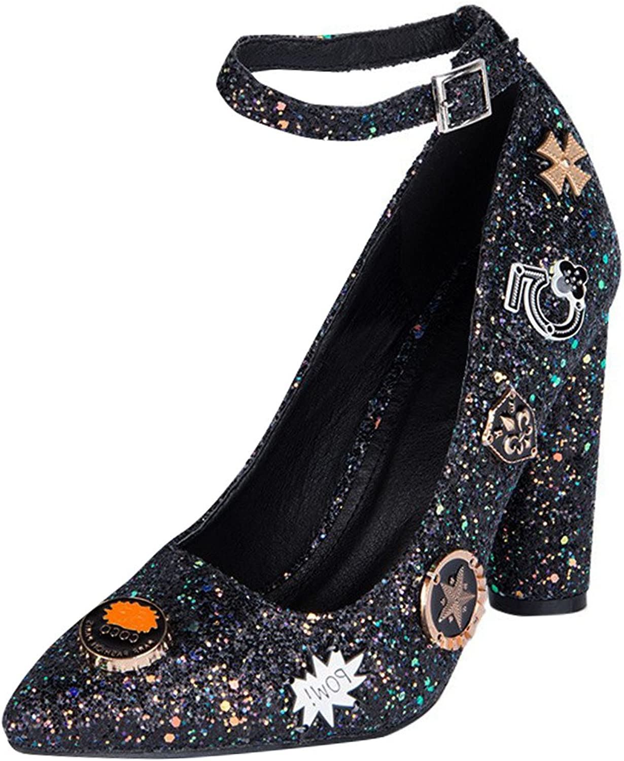 CAPE ROBBIN Womens Pointy Toe Glitter Embellished Chunky High Heel Ankle Strap Pump shoes
