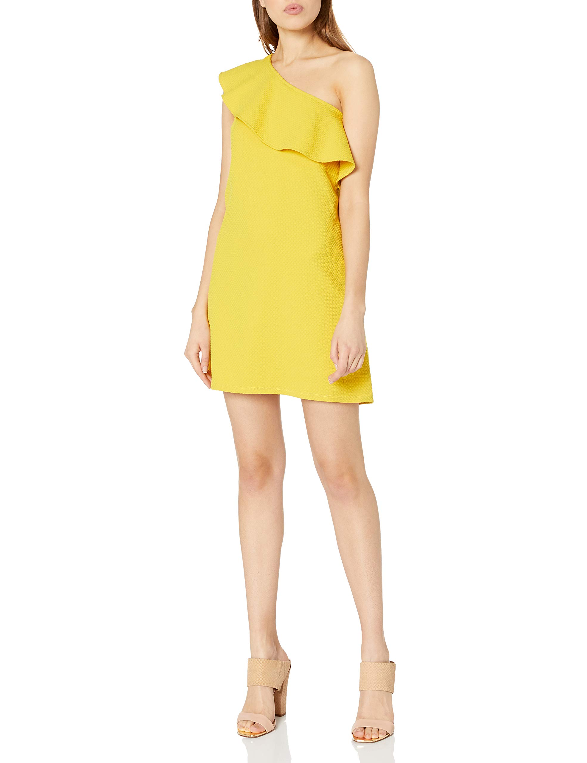 Available at Amazon: cupcakes and cashmere Women's Tex Ruffle One Shoulder Textured Dress