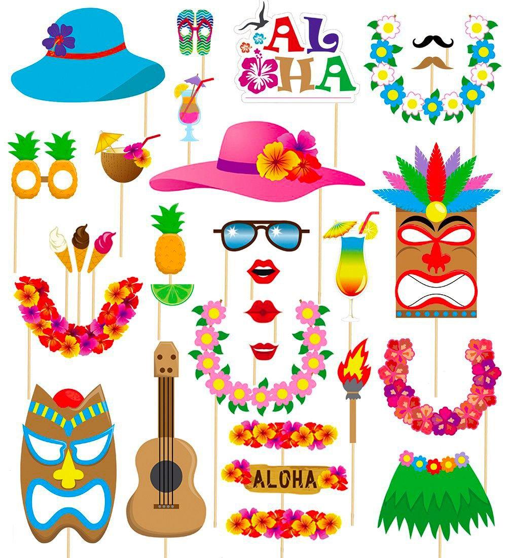 MMTX 60 Piezas Hawaiana Photo Booth Accesorios de Montura Selfie ...