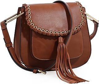 Heather Tassel Saddle Handbag (Brown)