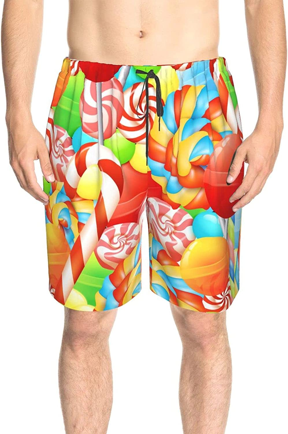 JINJUELS Men's Swim Shorts Colorful Sweet Candy Swim Board Shorts Quick Dry Comfy Athletic Beach Short with Liner