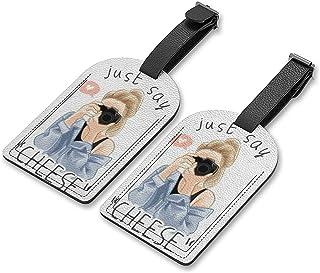 Etiquetas de bagagem de viagem, etiquetas de identificação, bolsa de couro, conjunto de 2 etiquetas de bagagem, etiqueta d...
