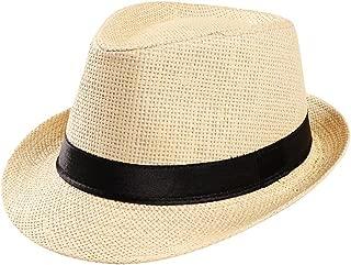 OldSch001 Unisex Straw Sunhat Beach Hat Cuban Trilby for Women Men