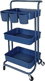 Lontenrea 多機能 3層ローリングカート オフィス キッチン 収納カート バスルーム リビングルーム 収納ラック + 3つ収納カップ (ネイビーブルー)