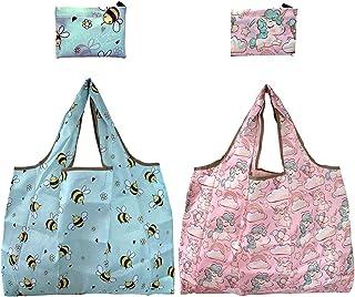 エコバッグ 2点セット 買い物袋 買い物バッグコンビニバッグ レジバッグ ショッピングバッグ 折り畳み式 洗濯可能 ポケットに入る 大容量 軽量