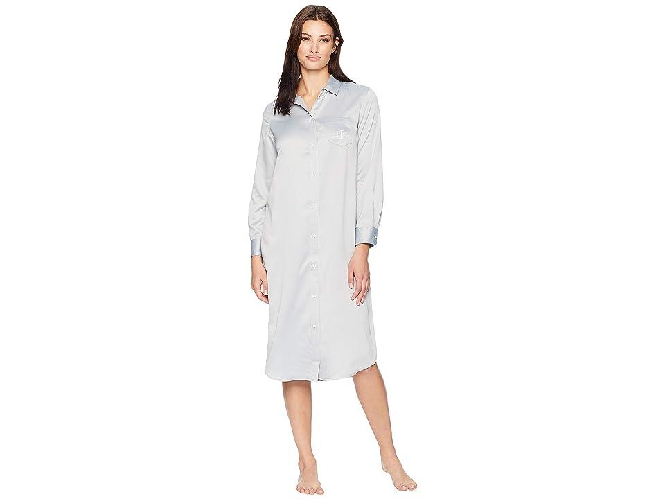 LAUREN Ralph Lauren Satin Notch Collar Ballet Sleepshirt (Grey) Women