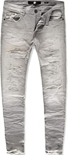 Jordan Craig Cement wash Crinkled Shredded Denim Jeans