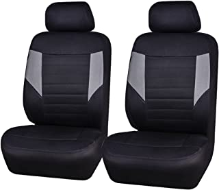 CAR PASS 6PCS Super Universal Fit Front Car Seat Covers Set Package-Fit for Vehicles,Black and Gray with Composite Sponge Inside,Airbag Compatible