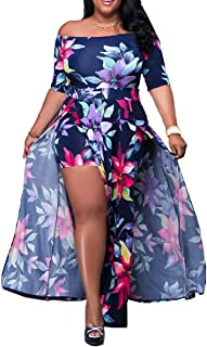 Akmipoem Women's Off Shoulder Floral Print High Split Beach Maxi Dress Jumpsuit Romper