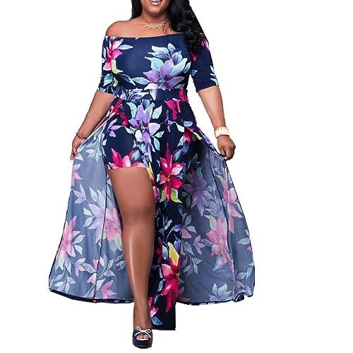 2e1c5262f5eb Akmipoem Women s Off Shoulder Floral Print High Split Beach Maxi Dress  Jumpsuit Romper