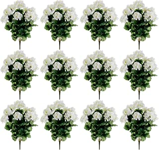 "17"" Geranium Bush x9 White (Pack of 12)"
