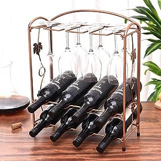 Estantería De Vino Encimera Metal Soporte Para Vino Con 8 Botellas Y 8 Vasos, Perfecto Para La Decoración Del Hogar Almacenamiento De La Cocina, Bar, Bodega, Gabinete,B