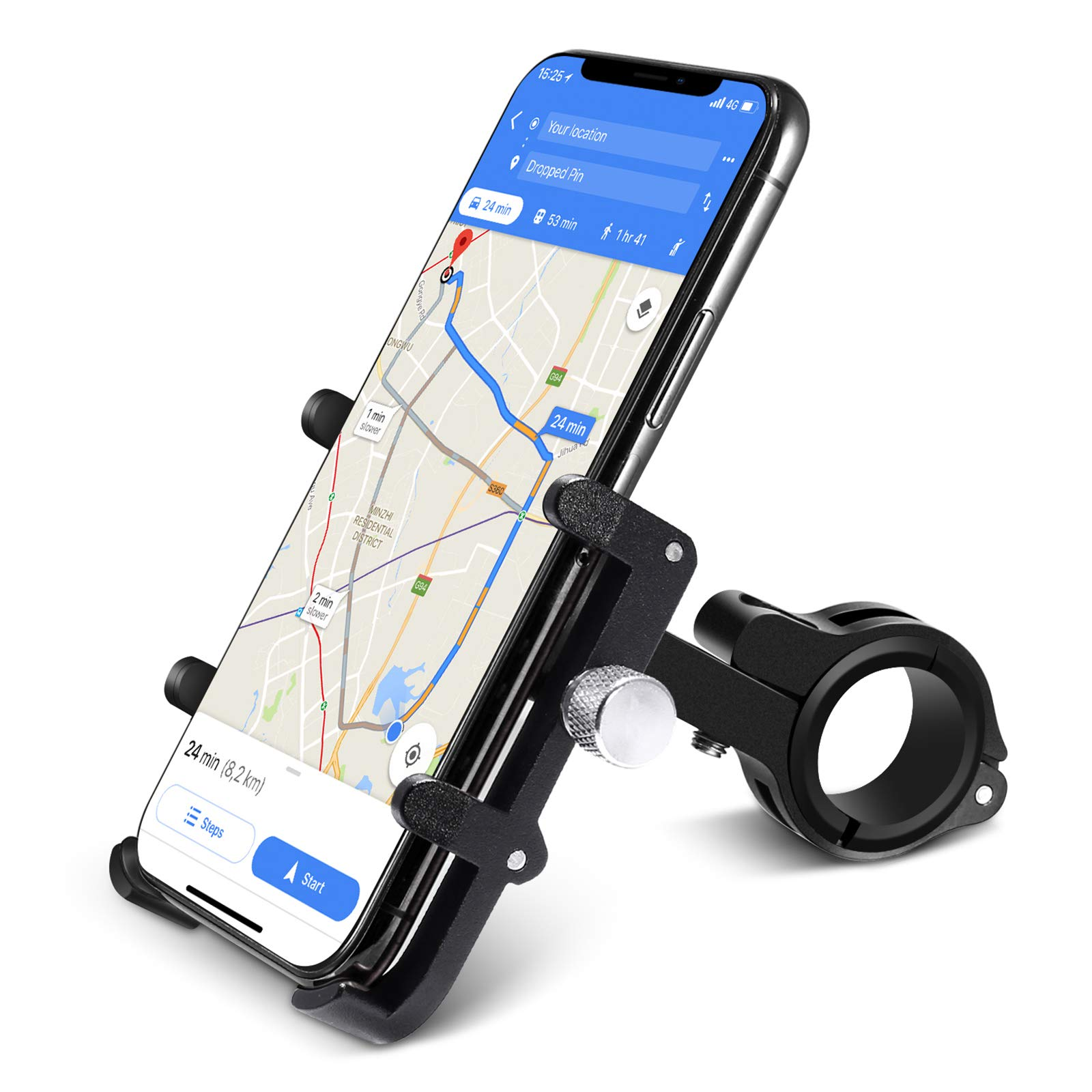 Mobile phone holder on bike bicycle for mobile smartphone