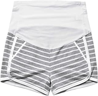 GINKANA Maternity Shorts Summer Pregnancy Casual Short Pants Stretchy Full Panel Short