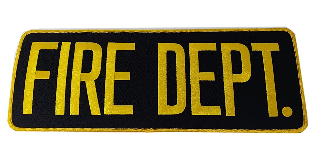 """FIRE Department Patch Badge- Fire Fighters   Fireman Gold/Yellow Black Back Patch 11"""" x 4"""""""
