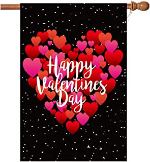 BOUTIQUE_GOODS Valentine's Day Flag,28x40 Inch Valentine's Heart Garden Flag with Two Grommets Double Sided Printing 2 Lay...