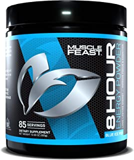 MUSCLE FEAST 8 Hour Energy, Blue Ice Pop, Keto Friendly Preworkout and NO Sugar, Focus and Mental Clarity, Increase Metabo...