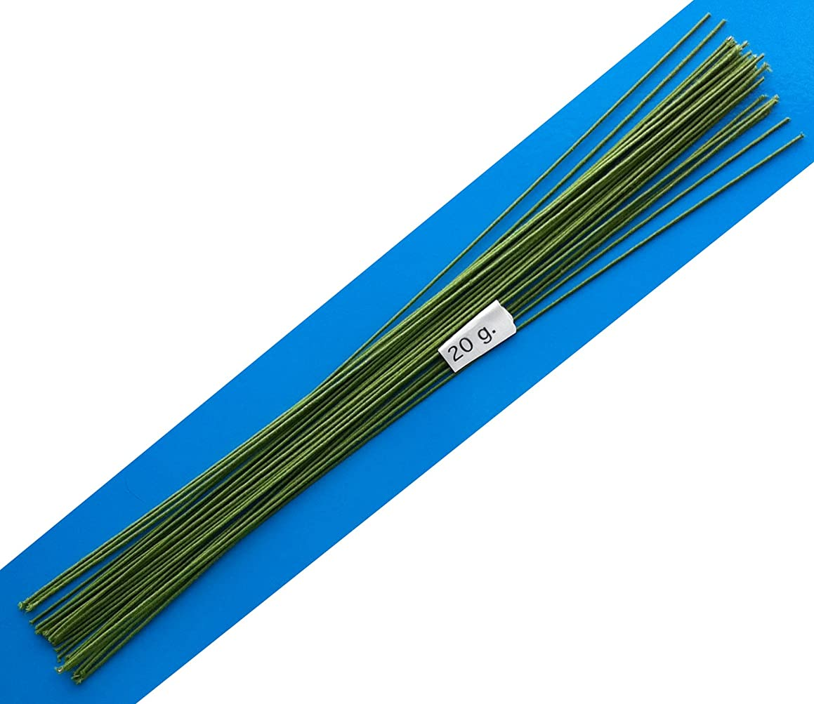 20 Gauge Green Cotton Covered Floral Wire - 30 feet per Bundle (9.14m) in 12 inch Lengths (30.5cm)