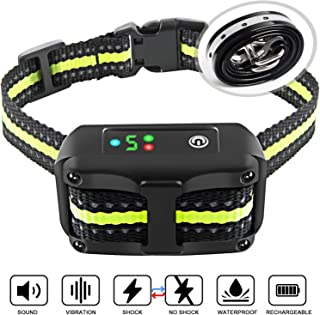 ANKACE Bark Collar 2019 Upgrade Version No Bark Collar Rechargeable Anti bark Collar with Beep Vibration and No Harm Shock Smart Detection Module Bark Collar for Small Medium Large Dog