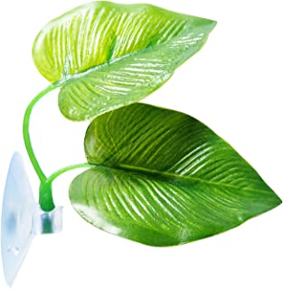 SLSON Betta Fish Leaf Pad Betta Hammock Toys Plastic Aquarium Plants with Suction Cup Green