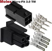 Molex Micro-Fit 3.0 dual row (4 Circuits) Male & Female receptacle plug, w/Terminal sockets, ( Pack of 5 Set)