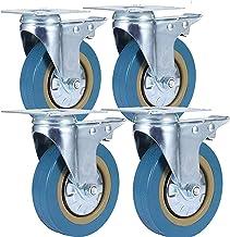 Beter 4Pack Swivel Castor Swivel Plate Stam Remrollers met Rem PVC Heavy Duty 1000 Pond Swivel Rubberen Wielen (2,5 inch)...