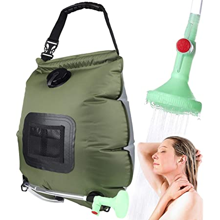 Grneric Camp Shower Portable Shower Bag Outdoor Solar Shower Bag 5 Gallons//20L with Removable Hose and ON//OFF Switchable Shower Head for Outdoor Traveling Hiking Camping Beach Swimming