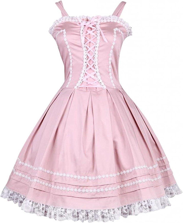 Cemavin Womens Sweet Pink Cotton Sleeveless Women Lolita Dress