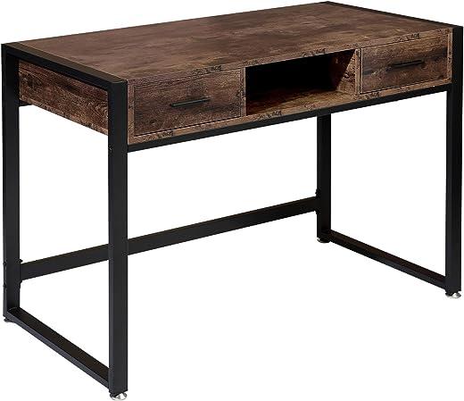 BOTONE Schreibtisch mit Zwei Schubladen und Ablage im Industrie-Design, Computertisch mit Metallgestell Arbeitstisch fürs Büro Arbeitszimmer,…