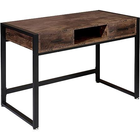 Botone Bureau avec 2 tiroirs et étagère au design industriel Bureau d'ordinateur avec structure en métal Table de travail rustique vintage Pieds réglables (110 x 50 x 75 cm)