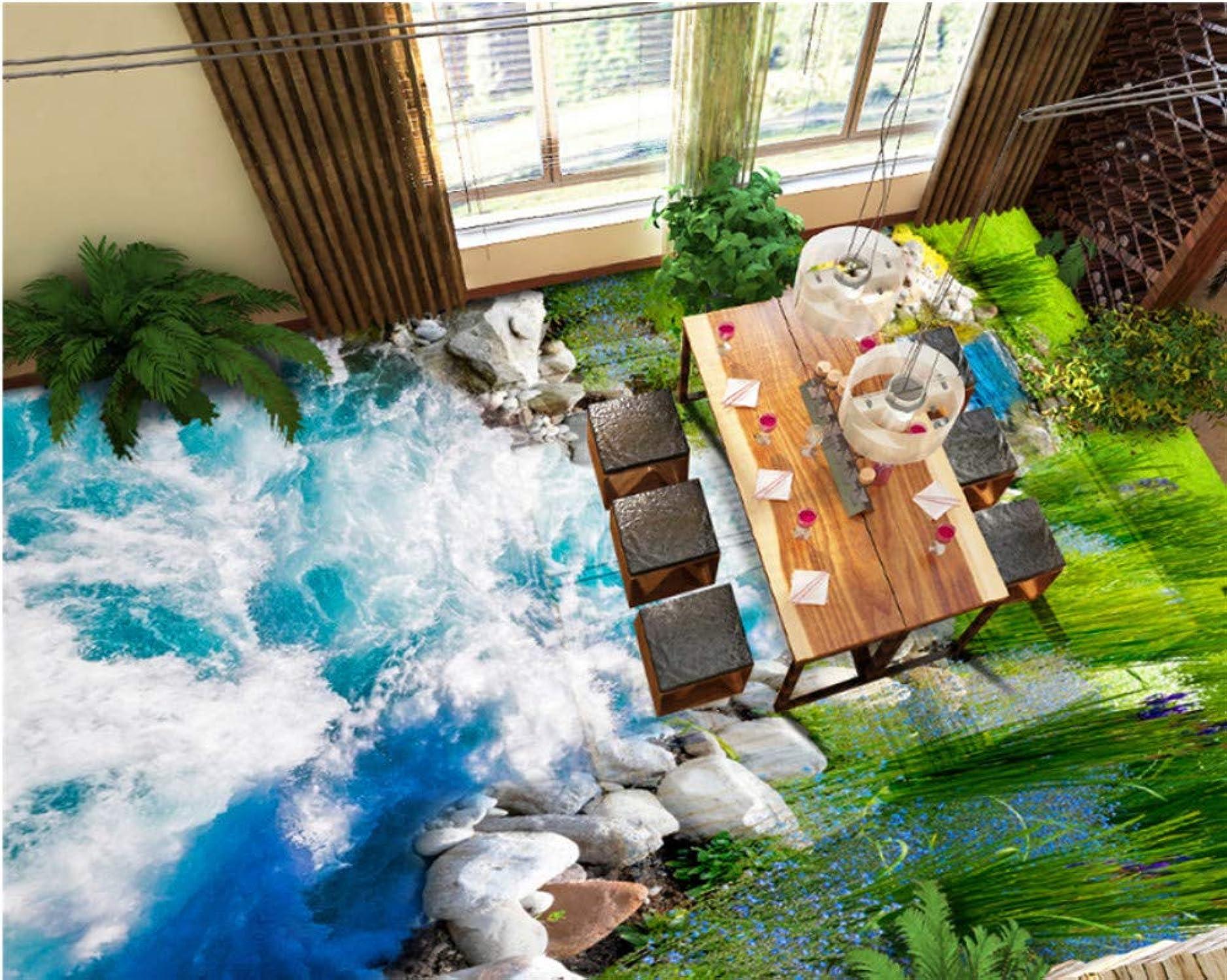 precios ultra bajos Mbwlkj Fashion Premium Silk Pvc Pvc Pvc Wallpaper Grass River Water Azulejos De Piso 3D Papel pintado De Dibujo Tridimensional Para Parojoes-200cmx140cm  entrega gratis