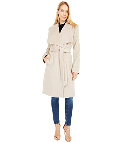 Cole Haan 39 Slick Wool Wrap Coat with Exaggerated Collar (Bone) Women