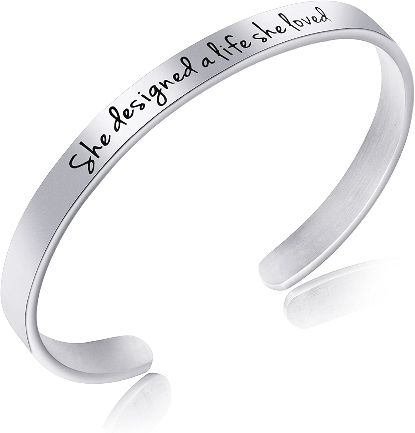 Inspirational Bracelet for Women Motivational Mantra Cuff Jewelry Stainless Steel Birthday Graduation Gifts