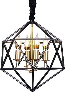 Lámpara de techo de estilo industrial de jaula metálica con 4 luces, color negro [Clase energética A ++]