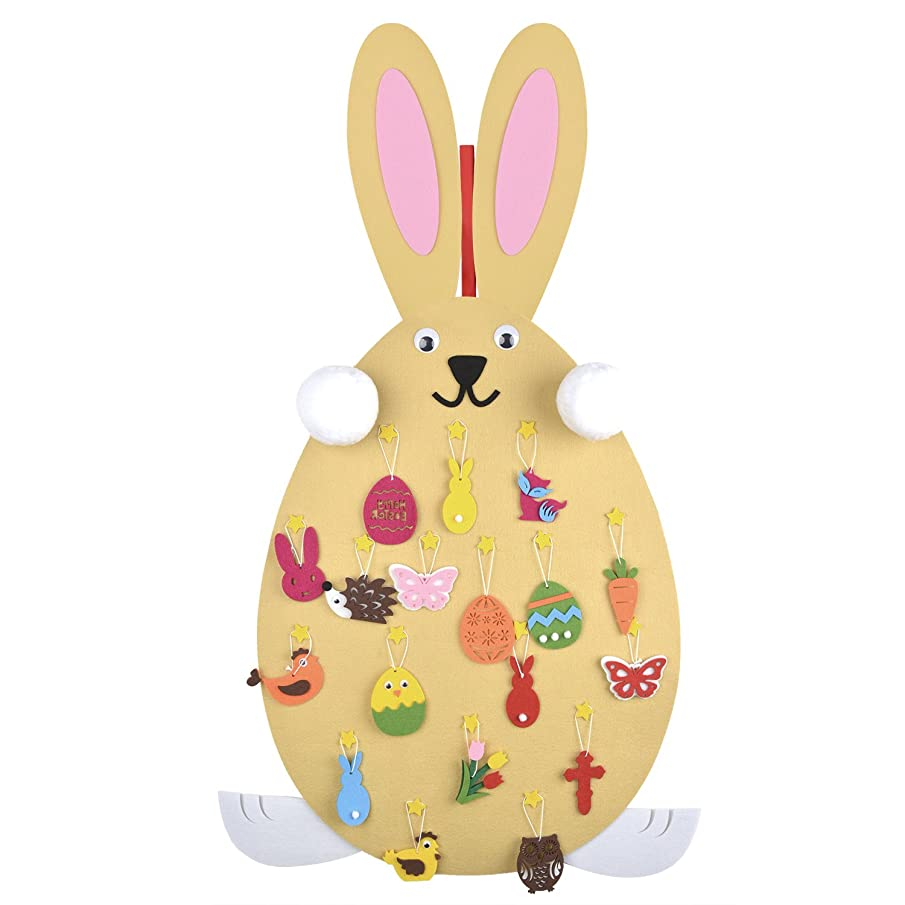 FunPa Felt Easter Rabbit Decor DIY Craft Kits Rabbit Ornaments with Hanging Rope for Easter, Child Gift,Birthday, Various Festivals Party Favor