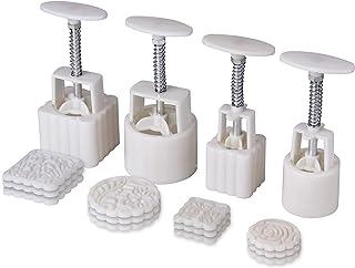 Sansheng Mid-Autumn Festival hand-pressed moon cake model, DIY decorative biscuit press, 12 pieces, 4 sets of models