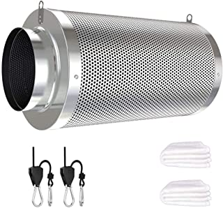 Vanleno 6inch Carbon Filter Odor Control with Australia Virgin Charcoal Two Prefilter 1 Pair Rope Ratchet Included for Inl...