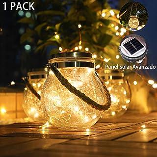 ANGMLN 1 Pack Luces De Jardín Solar 30 LED Luz Blanco Cálido IP65 Impermeable Exterior Solar Decoración Lámpara Jar Iluminación Para Terraza, Césped, Patio, Fiesta,Camino de Entrada, Escaleras