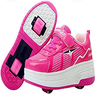 EVLYN Boy's Girl's Double Wheels Skate Shoes Roller Sneakers